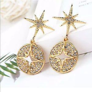 Crystal Golden Star Circle Dangle Earrings